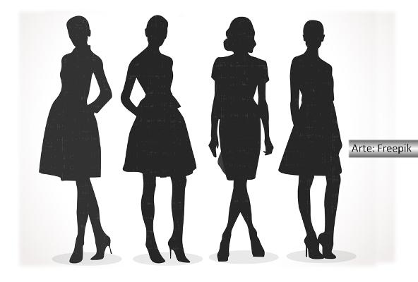 Silhueta de quatro mulheres de vestidos