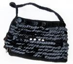 Bolsa de festa feminina preta com lantejoulas