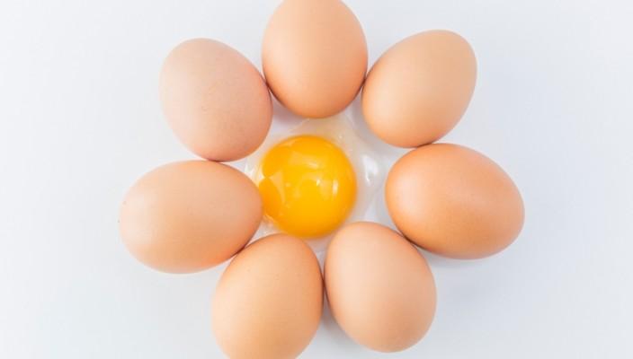 círculo formado por ovos e um ovo aberto ao meio.