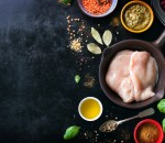 Food frame, food background, cooking or healthy food concept on a vintage background, top view with copy space