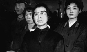 Jiang Qing, the widow of Chinese leader Mao Tse-tung, stands handcuffed in the Supreme People's Court in Beijing, China during the Gang of Four Trial in January of 1981. Jiang, a former actress, was sentenced to death for her role in China's failed Cultural Revolution; her sentence was suspended so that she might