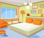 Vector cartoon illustration interior orange-blue bedroom, a living room with a bed, soft chair, stool, chest of drawers, floor lamp.