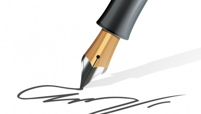 Closeup on fountain pen writing a signature realistic vector illustration