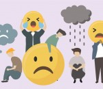 People with sad and angry emojis illustration