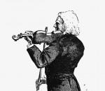 Violinist vintage drawing